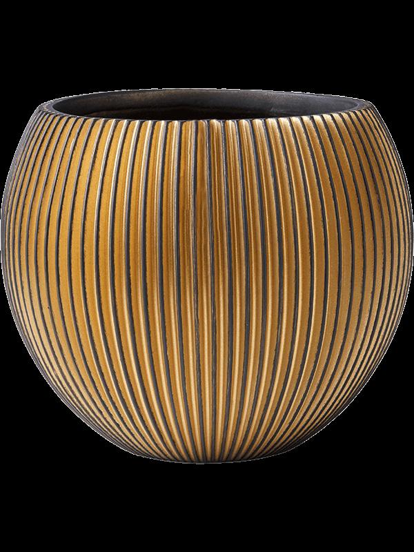 capi Capi Nature Groove Vase Ball Black Gold 29 - Planter - Main image