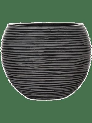 Capi Nature Vaas Bol Rib IIIII Black 29 - Plantenbak