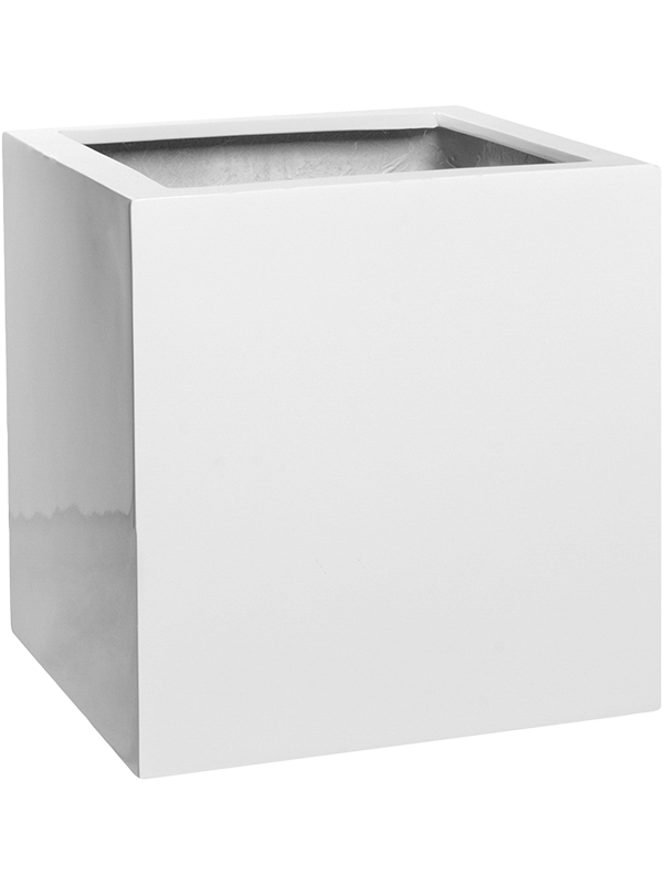 pottery pots Fiberstone Glossy white block S  - Bac - Main image