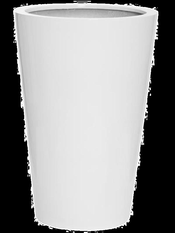 pottery pots Fiberstone Glossy white belle M 47 - Bac - Main image