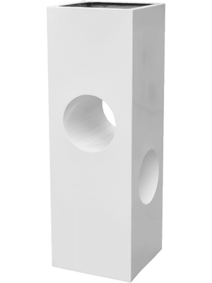 Livingreen Tower holey design 02 polished brilliant white  - Pflanzgefasse