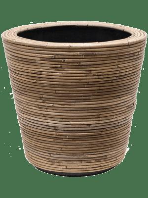van der leeden Drypot Rattan Stripe Round, grey 45 - Plantenbak