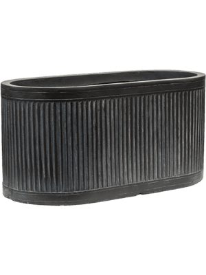 Vertical Rib Oval Anthracite  - Planter