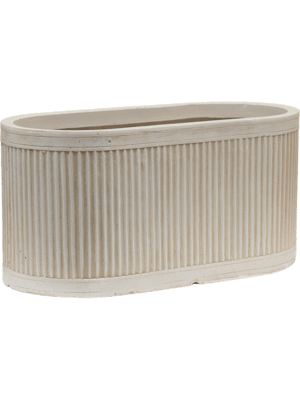 Vertical Rib Oval Beige  - Planter