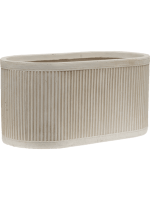 Vertical Rib Oval Beige  - Planter